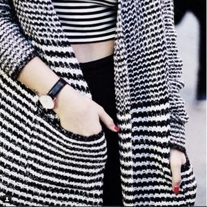Striped Long Cardigan with Pockets M
